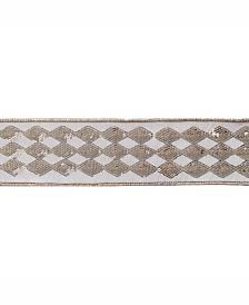 "Vickerman 2.5"" Ivory Dupion With Gold Sequin Diamond Christmas Ribbon"
