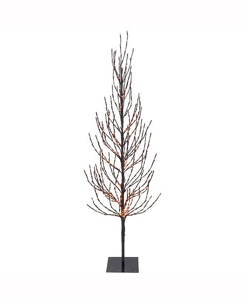 Vickerman 4' Brown Artificial Christmas Tree With 280 Orange Led Lights
