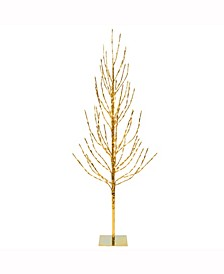 7' Gold Artificial Christmas Tree With 680 Warm White Led Lights