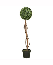 """39"""" Artificial Green Boxwood Topiary Features An 11"""" Ball"""