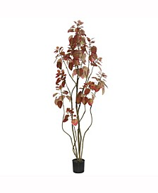 5' Artificial Red Potted Rogot Rurple Tree With 240 Leaves