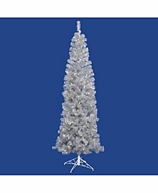 7.5 ft Silver Pencil Artificial Christmas Tree With 400 Clear Lights