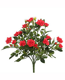 "Vickerman 15"" Red Mini Diamond Rosa Bush X 5 With 249 Leaves"