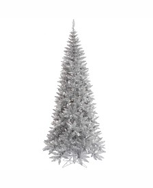Vickerman 7.5' Silver Tinsel Fir Artificial Christmas Tree Unlit