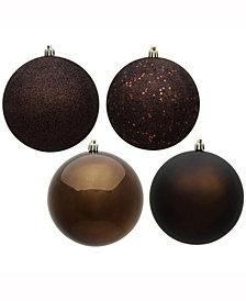 "Vickerman 2.4"" Chocolate 4-Finish Ball Christmas Ornament, 24 Per Box"