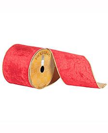 "4"" X 10Yd Red Plush Velvet Ribbon With Gold Edge"