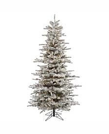 Vickerman 7.5 ft Flocked Sierra Fir Slim Artificial Christmas Tree With 700 Clear Lights
