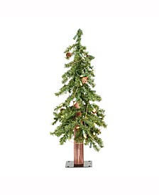 2 ft Alpine Artificial Christmas Tree, Featuring 105 Pvc Tips And 50 Warm White Dura-Lit Led Lights