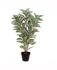 """35"""" Artificial Green Real Touch Zebra Plant In Pot With 125 Leaves"""