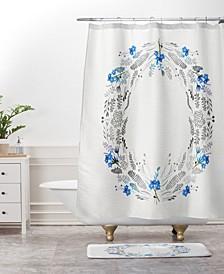 Iveta Abolina White Floral Gray II Bath Mat