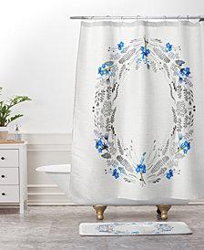 Deny Designs Iveta Abolina White Floral Gray II Bath Mat