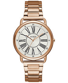 GUESS Women's Rose Gold-Tone Stainless Steel Bracelet Watch 41mm