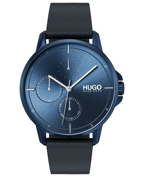 HUGO Men's #Focus Blue Leather Strap Watch 42mm