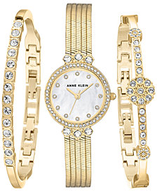Anne Klein Women's Gold-Tone Bracelet Watch 25mm Gift Set