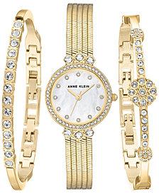 Anne Klein Women's Gold-Tone Bracelet Watch 25mm Gift Set