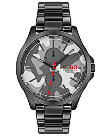 HUGO Men's #Jump Black Ion-Plated Stainless Steel Bracelet Watch 41mm
