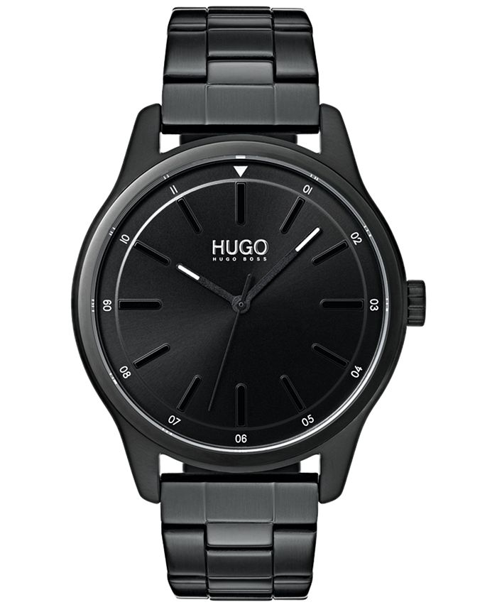 HUGO - Men's #Dare Black Stainless Steel Bracelet Watch 42mm
