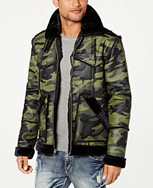 Reason Men's Camo Paneled Faux-Fur Trimmed Coat