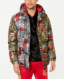 Reason Men's Floral & Chains Hooded Jacket