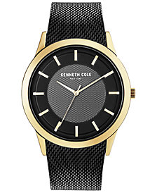 Kenneth Cole New York Men's Black-Tone Stainless Steel Mesh Bracelet Watch 44mm