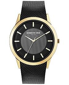 Kenneth Cole New York Men's Black-Tone Stainless Steel Mesh Bracelet Watch 44mm