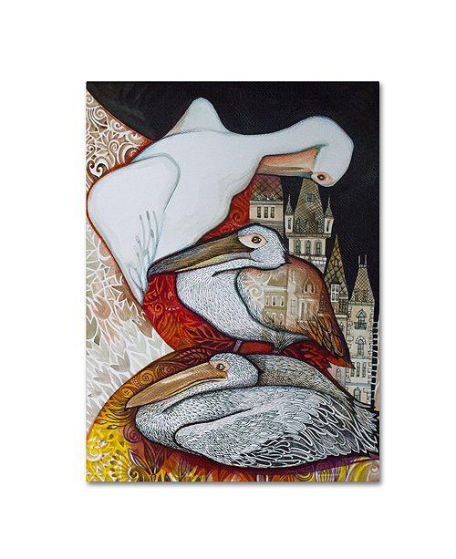 """Trademark Global Oxana Ziaka 'Pelicans' Canvas Art - 19"""" x 14"""" x 2"""""""