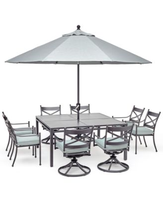 "Montclaire Outdoor 9-Pc. Dining Set (62"" X 62"" Table, 4 Dining Chairs & 4 Swivel Chairs) With Sunbrella® Cushions, Created For Macy's"