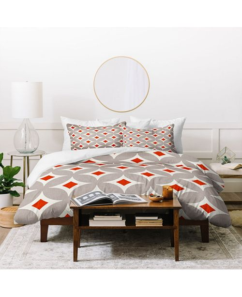 Deny Designs Holli Zollinger Vermillion Diamond Twin Duvet Set