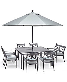 "Montclaire Outdoor Aluminum 8-Pc. Dining Set (62"" X 62"" Table, 6 Dining Chairs & 1 48"" Bench With Back) With Sunbrella® Cushions, Created For Macy's"