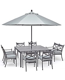"""Montclaire Outdoor Aluminum 8-Pc. Dining Set (62"""" X 62"""" Table, 6 Dining Chairs & 1 48"""" Bench With Back) With Sunbrella® Cushions, Created For Macy's"""