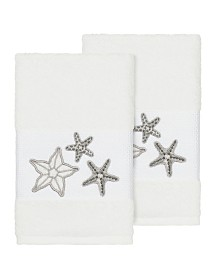 Linum Home Lydia 2-Pc. Embellished Hand Towel Set