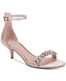 Jewel Badgley Mischka Dash Kitten-Heel Evening Sandals