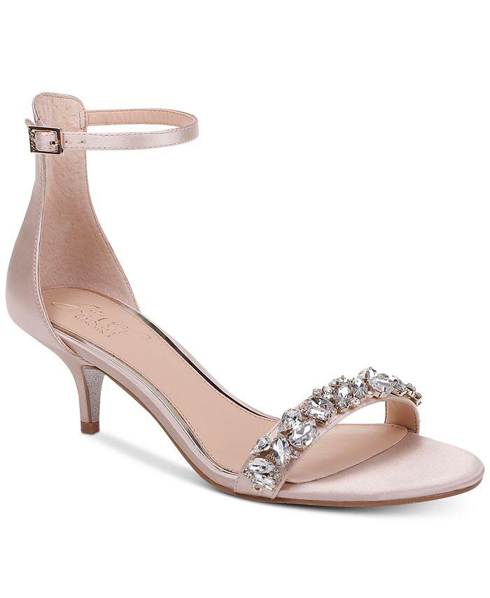 Jewel Badgley Mischka - Dash Kitten-Heel Evening Sandals