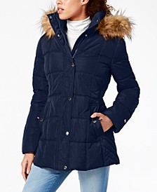 Petite Faux-Fur Trim Hooded Water-Resistant Puffer Coat, Created for Macy's