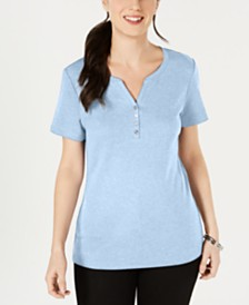 Karen Scott Short Sleeve Henley Top, Created for Macy's