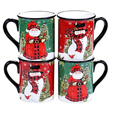 Certified International Winter's Plaid 4-Pc. Mugs