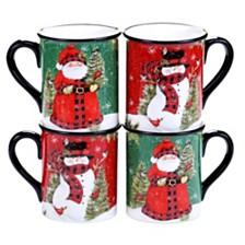 Certified International Winter's Plaid 4-Pc. Mugs