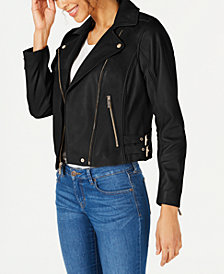 MICHAEL Michael Kors Petite Leather Moto Jacket