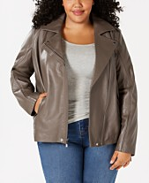 c9d9e36c2bdc MICHAEL Michael Kors Plus Size Leather Moto Jacket