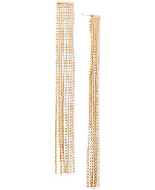 BCBG Gold-Tone Ball Chain Fringe Linear Drop Earrings