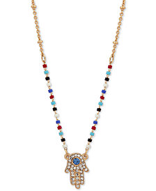 "lonna & lilly Gold-Tone Crystal Hamsa Hand Beaded Pendant Necklace, 16"" + 3"" extender"