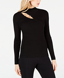 I.N.C. O-Ring Cutout Mock-Neck Top, Created for Macy's