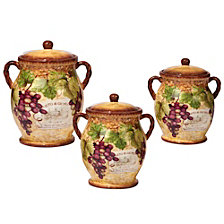 Certified International Gilded Wine 3 pc. Canister Set