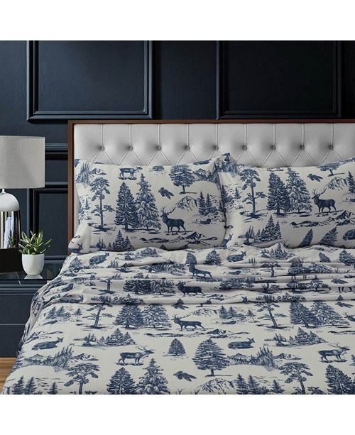 Tribeca Living Mountain Toile Heavyweight Flannel Cal King Sheet Set