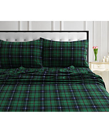 Cambridge Plaid 170-Gsm Cotton Flannel Printed Extra Deep Pocket Queen Sheet Set
