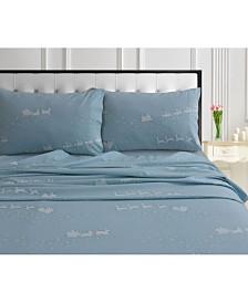 Santa's Sleigh 170-GSM Cotton Flannel Printed Printed King Pillow Pair