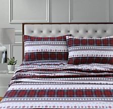 Comfy Stripe 170-Gsm Cotton Flannel Printed Extra Deep Pocket Full Sheet Set