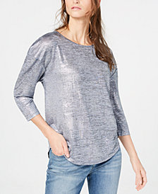 I.N.C. Foil Shine Top, Created for Macy's