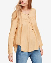 Free People Sand Dune Cotton Textured Raw-Seam Blouse. Quickview. 4 colors 3bd7b8927