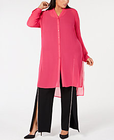 I.N.C. Plus Size Button-Front Tunic, Created for Macy's